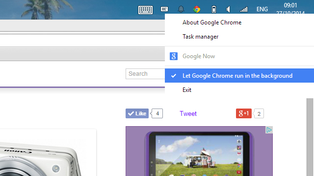 Prevent Google Chrome from running in the background